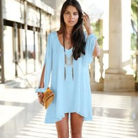 Long sleeve solid color Chiffon V-neck Loose Party Dress -9 Color Options-