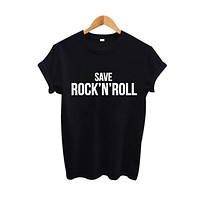 Save Rock'N' Roll Hipster Women T Shirt Fall Out Boy Punk Rock Harajuku tshirt Tumblr Hipster Street Black White T-shirt