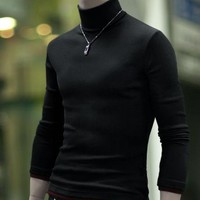 Men Turtleneck Sweater T-Shirts
