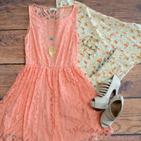 Amazing Lace Peach Party Dress