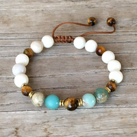 Riverstone and Tigers Eye Adjustable Wrist Mala Bracelet