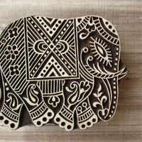 Elephant Tjaps Stamp - Wooden Hand Carved Textile / Animal Stamp