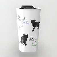 Black Cats Bring Luck Travel Mug by Perrin Le Feuvre | Society6