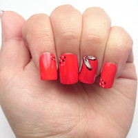 White Floral Fake Nails / Short Square False Nails / Red Claws / Summer Flowers / Artificial Long Nails / Black Flowers / Ballerina