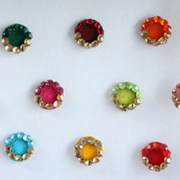 25 Small Wedding Round Colored Bindis,Velvet Colorful Bindis,Multicolor Face Jewels Bindis,Bollywood Bindis,Self Adhesive Stickers