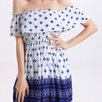 Off-Shoulder Ruffle Front Floral Print Short Dress