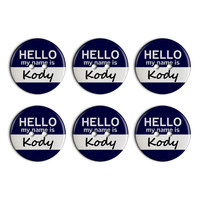 Kody Hello My Name Is Plastic Resin Button Set of 6