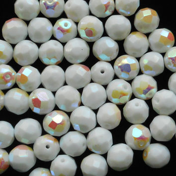 Lot of 25 8mm Czech glass beads, Opaque White AB firepolished, faceted round beads C40125