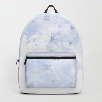 Silver snowflakes on blue Backpack by edrawings38