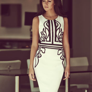 Printed sleeveless cultivate one's morality pencil skirt restoring ancient ways package buttocks pencil dress