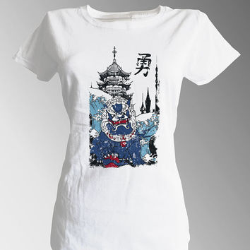 Japanese Asian China Traditional Exotic Stone Dragon Monument and Castle Goddess in Nature White Fitted 100% Cotton T shirt T-shirt Tee
