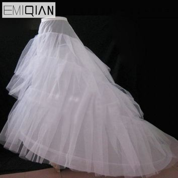 Cheap Wedding Petticoat Jupon Court Train Crinoline Slip Underskirt for A-line Wedding Dress 3 Layers Wedding Accessoires