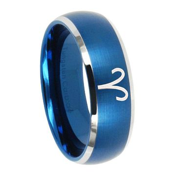 8MM Brush Blue Dome Aries Zodiac Tungsten Carbide 2 Tone Laser Engraved Ring