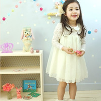 3y,4y,5y,6y,7y toddler girl dress wedding party dress PURE WHITE dress - lace long sleeve dress