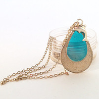 BEACH Jewelry, hawaiian jewelry, real sand from kailua beach, turquoise pendant, gold chain, dolphin pendant