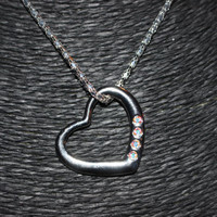 Silver Heart with Rhinestones Pendant Necklace