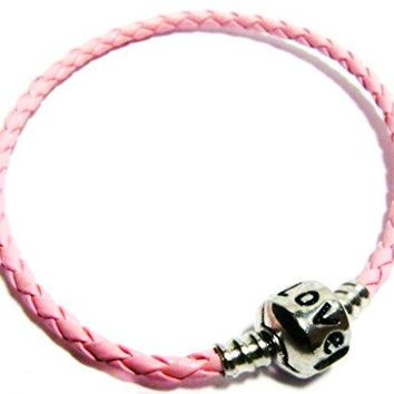 "AUGUAU Pink 8"" Inch Pandora & Chamilia Compatible 'Love' Charm Starter Bangle Friendship Bracelet, Braided Woven Leather, Tarnish-Resistant Silver Plated Snap Box Barrel Clasp"