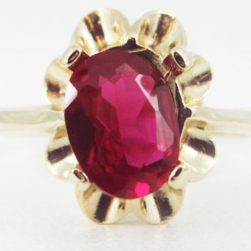 Ruby 14k Yellow Gold Oval Crown Ring, Solid 14 Karat Gold Ring, July Birthstone Ring, 14k Gold Ruby Oval Ring, 14k Gold Ring, Ruby Oval Ring