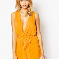 ASOS Twist Back Plunge Beach Playsuit