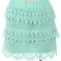 Mint Green Lined Crochet Skirt