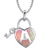 Sterling Silver Heart Lock and Key W. Pink Fire Opal Pendant Necklace