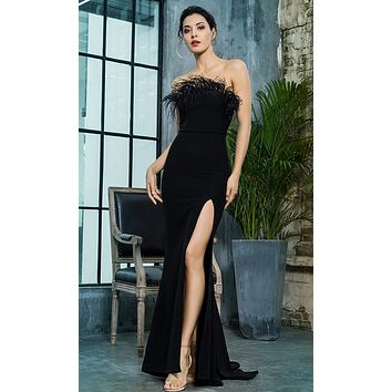 Total Fantasy Black Feather Strapless High Slit Mermaid Maxi Dress