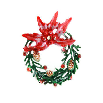 Vintage Christmas Wreath Brooch with Enamel Paint and Rhinestones