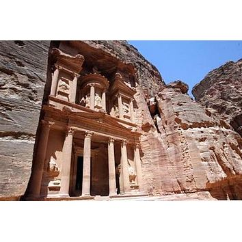 Ruins At Petra Jordan poster Metal Sign Wall Art 8in x 12in