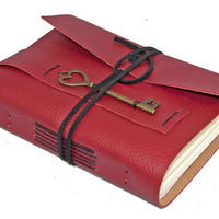 Red Vegan Faux Leather Journal with Key Bookmark