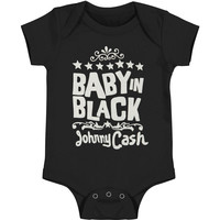 Johnny Cash Boys' Baby In Black Bodysuit Black