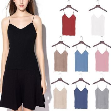Knitted Tank Tops Women Camisole Vest Simple Stretchable VNeck Slim Sexy Strappy  Hot