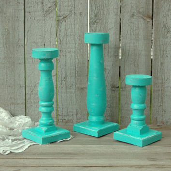 Shabby Chic Candlesticks, Tiffany Blue, Hand Painted, Tall, Pillar, Taper, Candle Holders, Distressed, Wood, Beach Decor , Wedding Decor
