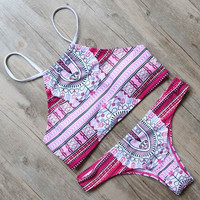 Retro High Neck Printed Women Swimwear Bikini Sets