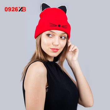 0926XB Warm Winter Hat For Women Wool Knitted Cat Ears Hats Skullies Fur Pompom Caps Female Beanies Bonnet Femme XB-D671