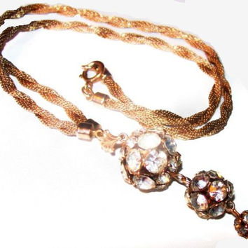 "Juliana Pendant Chain Necklace D&E Rhinestone Rose Montees Balls Gold Mesh Metal 22"" Vintage"