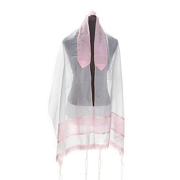 Lace Pink Tallit for Girl - Bat Mitzvah Tallit