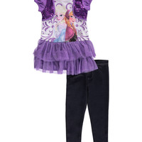 """Frozen Little Girls' Toddler """"Power Sisters"""" 2-Piece Outfit (Sizes 2T – 4T)"""