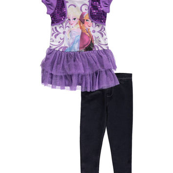 "Frozen Little Girls' Toddler ""Power Sisters"" 2-Piece Outfit (Sizes 2T – 4T)"
