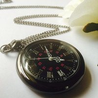 Black pocket watch open face pocket watch- groomers' gifts