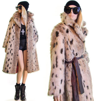 American Woman snow leopard fur coat Tissavel Coat plush faux fur animal print boho hipster rocker 60s coat grunge boho coat women coat s m