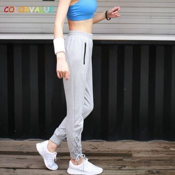 Colorvalue Side Lace-up Gym Workout Sweatpants Women Loose Solid Jogger Pants High Waist Sport Fitness Pants with Zipper Pocket