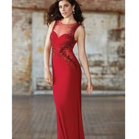 Red Sheer Jeweled Cut Out Dot Paneling Gown