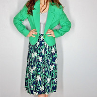 Skirt and Blazer, Pendleton, Small, Medium, Green Blazer, Water Lily, High Waist Skirt, Career Wear County Sophisticates