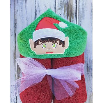 Elf on a shelf Hooded Towel