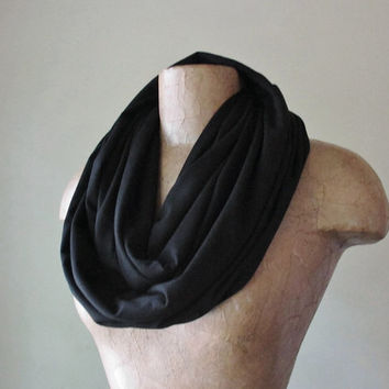 BASIC BLACK Infinity Scarf - Handmade Jersey Circle Scarf - Lightweight Infinity Loop Scarf