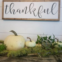 """Thankful"" Lettered Sign"