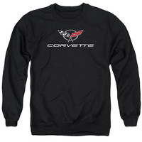 CHEVY/CORVETTE MODERN EMBLEM-ADULT CREWNECK SWEATSHIRT-BLACK