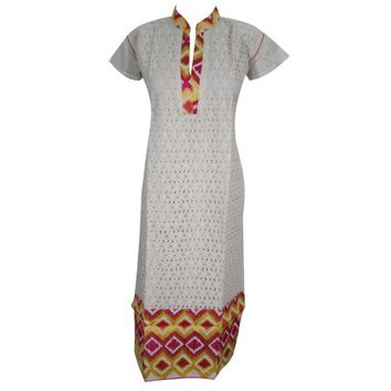Mogul Woman's Ethnic Indian Cotton White Tunic Long Kurti Kurta Dress - Walmart.com