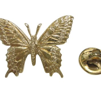 Gold Toned Textured Large Butterfly Lapel Pin