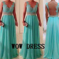 2014 New Chiffon Backless V-neck Spaghetti Straps Long Evening Dress/Party Dress/Cocktail Dress/Homecoming Dress